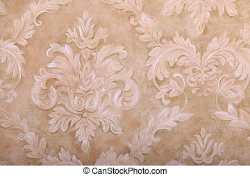 Vintage wallpaper with vignette pattern - Vintage beige...