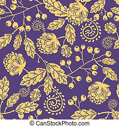 Wooden texture fall plants seamless pattern background -...
