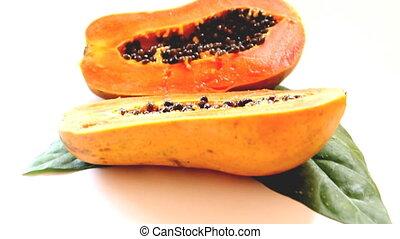 close-up to cutting half papaya