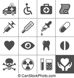 Medical and health icon set Simplus series Vector...