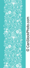 Blue seashells line art vertical seamless pattern border -...