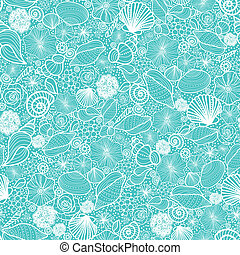 Blue seashells line art seamless pattern background - Vector...
