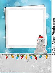 Christmas polar bear frame - Polar bear with candy cane on...