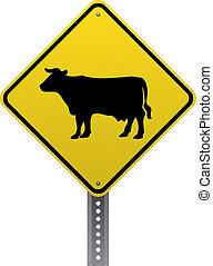 Cattle crossing sign - Cattle crossing traffic warning sign...
