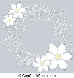 White Paper Flower Card Design
