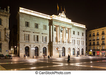 night view of old city hall of Barcelona, Spain