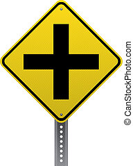 Crossroads ahead sign - Crossroads ahead traffic warning...