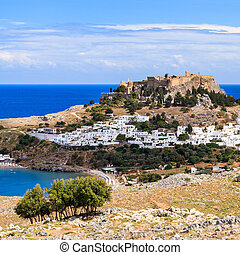 Lindos Rhodes Greece Europe - View from the road down to the...