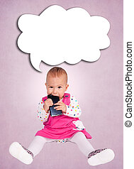 Baby and cell phone - Little baby girl eating cell phone