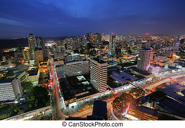 Panama City in the twilight