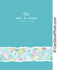 Seashells line art vertical torn seamless pattern background...