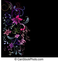 Colorful flowers design with black copy space