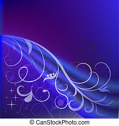 Abstract dark blue floral background with copy space.