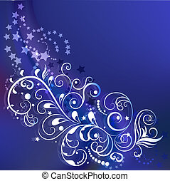 Dark blue winter ornamental background with copy space.