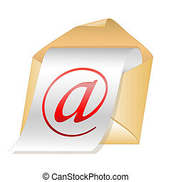E-mail vector icon isolated on white background.