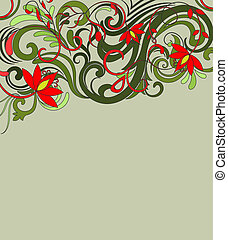 Flower ornament in pencil drawing style vector background.