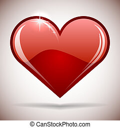 Glossy red heart icon vector illustration.