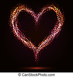 Sparkling heart shape on dark background.