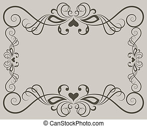 Beige ornate floral frame background with copy space