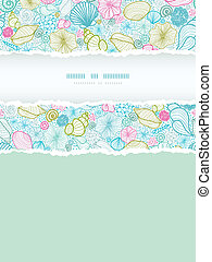 Seashells line art vertical torn frame seamless pattern...