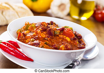 Chili con carne - stew with beans, beef, corn and peppers