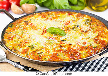 Italian frittata with vegetables and parmesan cheese