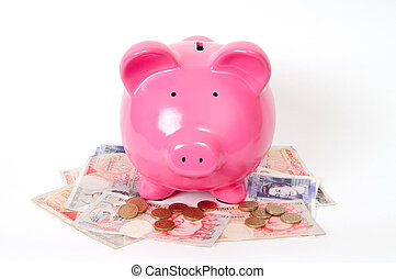 piggy bank with GBP - Pink Piggy bank with pound icons and...