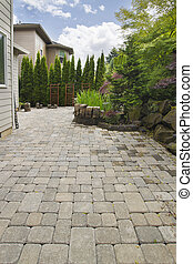 Backyard Brick Paver Patio with Pond - Garden Backyard...