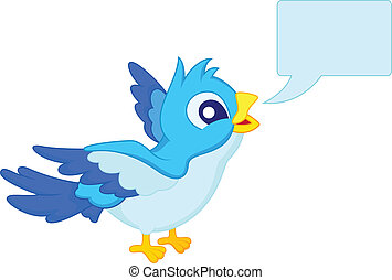 Blue bird with blank sign