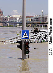 flooded city - traffic light on flooding river