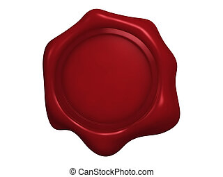 wax seal 1 - An isolated blank red wax seal on white...