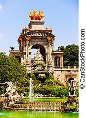 Fountain Cascada at Parc de la Ciutadella in sunny day -...