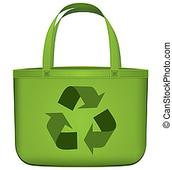 Green reusable bag with recycling symbol vector - Vector...