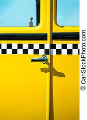 Vintage yellow taxi door panel