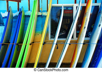 California Surfboards - Colorful blue, green, and yellow...
