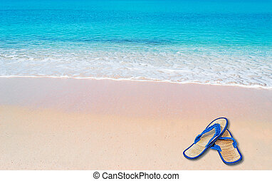 pink foreshore and flip flop - pink paradise beach with flip...