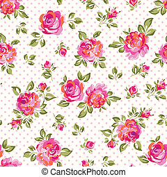 little pink roses - Painted roses over dotty seamless...