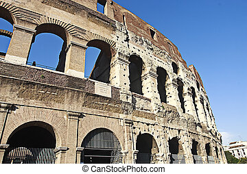 Colosseum - The huge building of the Colosseum in Rome Italy