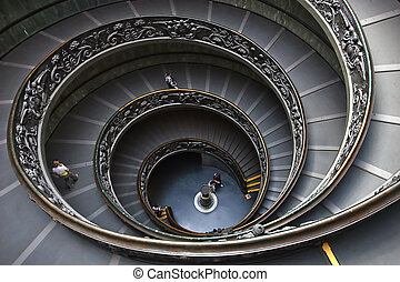 vatican steps - The spiral steps at the vatican museum in...