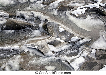 Thawing - Thawing on mountain river