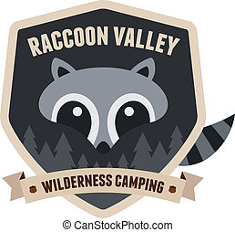 Raccoon badge - Outdoors emblem badge with raccoon character...