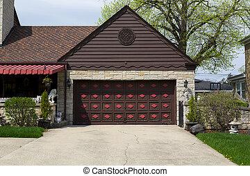 garage door - double brown wooden garage door