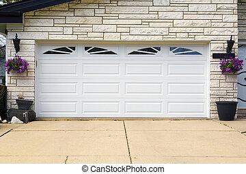 garage door - double white wooden garage door