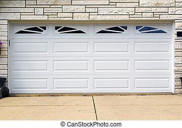 garage door - double white american garage door
