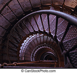 Lighthouse Stairs - Interior metal stairway, Currituck Beach...