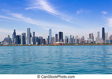 Chicago skyline in summertime