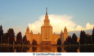 morning Moscow State University fountain time lapse zoom