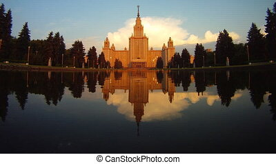 morning Moscow State University fountain time lapse pan -...