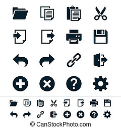 Application toolbar icons - Simple vector icons Clear and...
