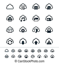 Cloud computing icons - Simple vector icons. Clear and...